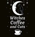 black cat on moon stars coffee cup witches vector image vector image