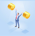 business men lifting weights vector image vector image