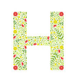 capital letter h green floral alphabet element vector image vector image