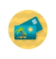 Card with palm flat icon vector image vector image