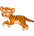 cartoon jumping baby tiger isolated vector image vector image