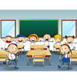 Children dancing inside the classroom vector image vector image