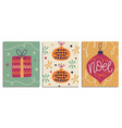 christmas decorative cards set vector image vector image