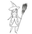 coloring page for children cute witch holding vector image