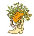 cowboy boot with flowers and cowboy hat and lasso vector image vector image