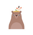 cute bear animal wearing headdress with feathers vector image vector image