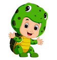 cute kids cartoon wearing turtle costume vector image vector image