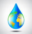 Earth globe in water drop form environment concept vector image vector image