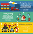 firefighting banner horizontal set flat style vector image vector image