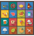 food and alcohol drink icons in flat design style vector image