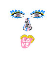 fun pop art face tshirt print in bright colors vector image vector image