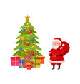 funny santa and christmas tree with many presents vector image vector image