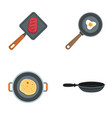 hot griddle chef icon set flat style vector image