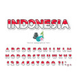 indonesia cartoon font indonesian national flag vector image vector image