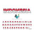 Indonesia cartoon font indonesian national flag