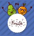 kawaii orange pear cartoon fruits label vector image