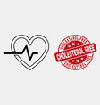 linear heart pulse icon and distress vector image vector image