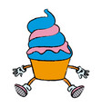 mascot of an ice cream in cone frozen sweet vector image