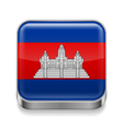 Metal icon of Cambodia vector image vector image