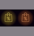 neon shopping bag in yellow and orange color vector image