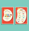 of kids menu template vector image