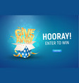 open textured blue box with golden giveaway word vector image vector image