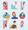 peeking out characters male and female looking vector image vector image
