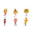 people characters in fast food and snacks costumes vector image vector image