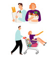 people with shopping cart man and woman vector image vector image
