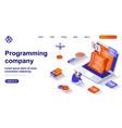 programming company isometric landing page vector image