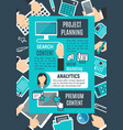 project planning internet search poster vector image vector image