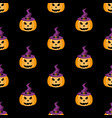 pumpkin in a witch hat halloween pattern vector image