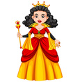 Queen in red and yellow dress vector image vector image