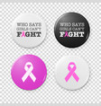 realistic button badges with cancer theme vector image vector image