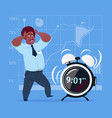 scared african american business man with alarm vector image vector image