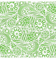 Seamless flower paisley lace pattern on green vector image
