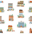 seamless pattern with city commercial buildings in vector image