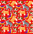 seamless pattern with domestic animals vector image