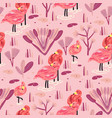 seamless pattern with flamingo forest pattern vector image