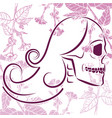 skull with flowers 3 vector image vector image