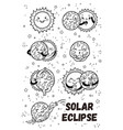 solar eclipse in phases outline set vector image vector image
