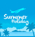 summer holiday flying plane blue sky background ve vector image vector image