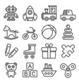 toys icons set on white background line style vector image