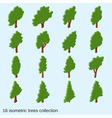 Trees flat isometric icons collection vector image vector image