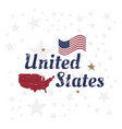 usa lettering with flag and map vintage label vector image