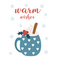 winter card with cup and marshmallows vector image
