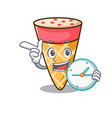 with clock ice cream tone character cartoon vector image vector image