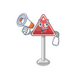 with megaphone height limit mascot shaped on vector image vector image