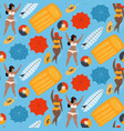 women in pool swimming with inflatable ball and vector image