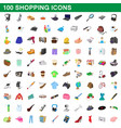 100 shopping set cartoon style vector image